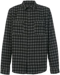 Camisa de manga larga de lana de tartán en gris oscuro de A.P.C.