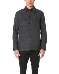 Camisa de manga larga de lana en gris oscuro