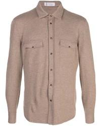 Camisa de manga larga de lana marrón de Brunello Cucinelli