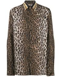 Camisa de manga larga de leopardo marrón de Versace