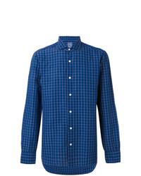 Camisa de manga larga de lino a cuadros azul de Barba