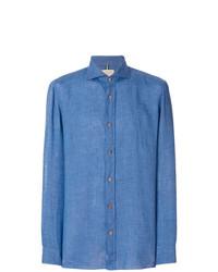 Camisa de manga larga de lino a cuadros azul de Borrelli