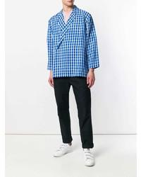 Camisa de manga larga de lino a cuadros azul de Sunnei