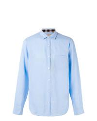 Camisa de Manga Larga de Lino a Cuadros Celeste de Burberry