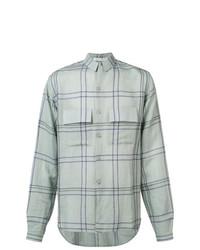 Camisa de Manga Larga de Lino a Cuadros Celeste de Denis Colomb