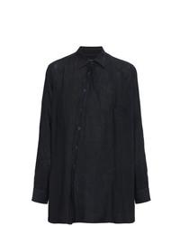 Camisa de manga larga de lino azul marino de By Walid
