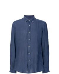 Camisa de manga larga de lino azul marino de Fay