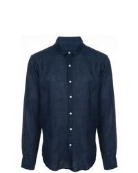 Camisa de manga larga de lino azul marino de Jac+ Jack
