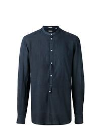 Camisa de manga larga de lino azul marino de Massimo Alba