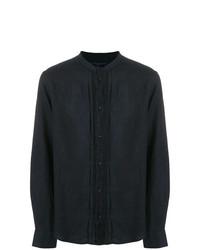 Camisa de manga larga de lino azul marino de Natural Selection