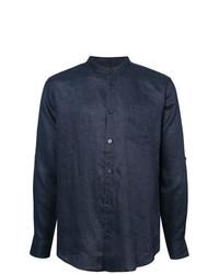Camisa de manga larga de lino azul marino de Onia