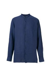 Camisa de manga larga de lino azul marino de Z Zegna
