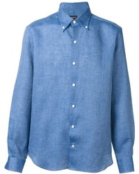 Camisa de manga larga de lino azul