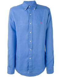 Camisa de manga larga de lino azul de Ralph Lauren