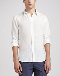 Camisa de manga larga de lino blanca
