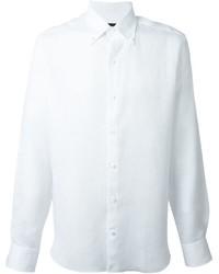 Camisa de manga larga de lino blanca de Ermenegildo Zegna