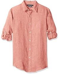e7749b4410746 ... Camisa de manga larga de lino blanca de Perry Ellis