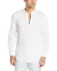 Camisa de Manga Larga de Lino Blanca de Perry Ellis