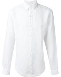 Camisa de manga larga de lino blanca de Z Zegna