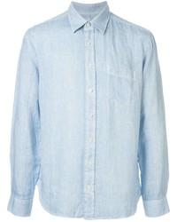 Camisa de manga larga de lino celeste de 120% Lino