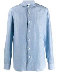 Camisa de manga larga de lino celeste de Barba