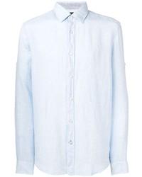Camisa de manga larga de lino celeste de BOSS HUGO BOSS