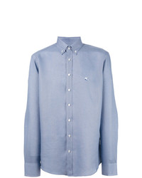 Camisa de Manga Larga de Lino Celeste de Etro