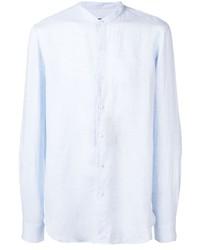 Camisa de manga larga de lino celeste de Giorgio Armani