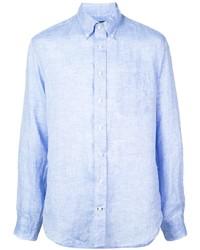 Camisa de manga larga de lino celeste de Gitman Vintage