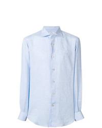 Camisa de Manga Larga de Lino Celeste de Kiton