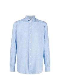 Camisa de Manga Larga de Lino Celeste de Orian