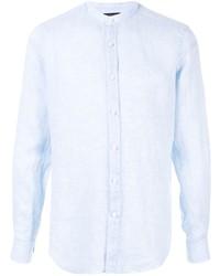 Camisa de manga larga de lino celeste de Shanghai Tang