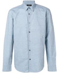 Camisa de manga larga de lino celeste de Theory