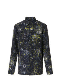 Camisa de manga larga de lino con print de flores azul marino de Jil Sander