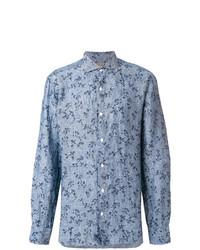 Camisa de manga larga de lino con print de flores celeste de Barba