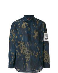Camisa de manga larga de lino de camuflaje azul marino de Oamc