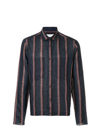 Camisa de manga larga de lino de rayas verticales azul marino de Cerruti 1881