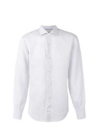 Camisa de manga larga de lino de rayas verticales celeste de Eleventy
