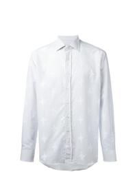 Camisa de manga larga de lino de rayas verticales celeste de Etro
