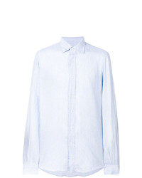 Camisa de Manga Larga de Lino de Rayas Verticales Celeste de Fashion Clinic Timeless