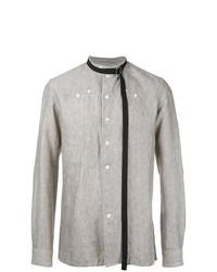 Camisa de manga larga de lino de rayas verticales en beige de Raf Simons