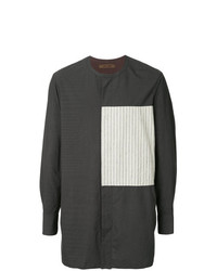 Camisa de manga larga de lino de rayas verticales en gris oscuro de Ziggy Chen