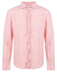 Camisa de manga larga de lino de rayas verticales rosada de Eleventy