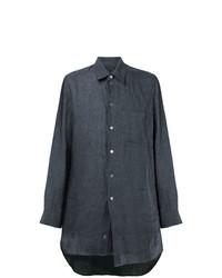 Camisa de manga larga de lino en gris oscuro de Ann Demeulemeester