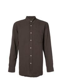 Camisa de manga larga de lino en marrón oscuro