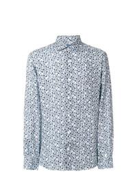 Camisa de manga larga de lino estampada celeste de Barba
