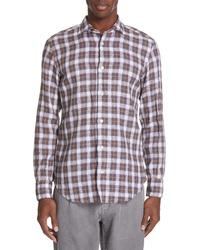 Camisa de manga larga de lino marrón