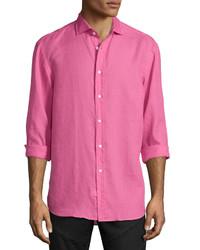 Camisa de manga larga de lino rosa