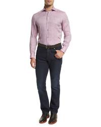 Camisa de manga larga de lino rosada