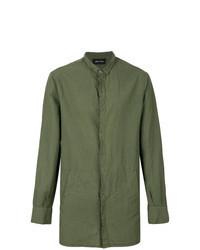 Camisa de manga larga de lino verde oliva